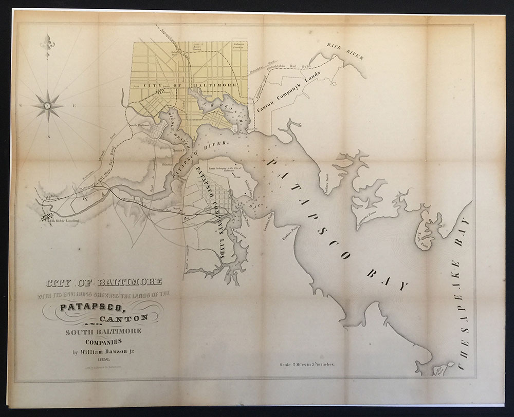 Rare 1854 Baltimore City Map with Canton & Patapsco