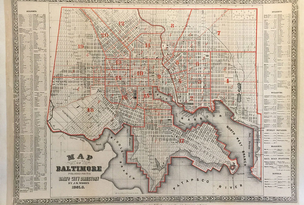 Baltimore Map 1867 J.W. Woods
