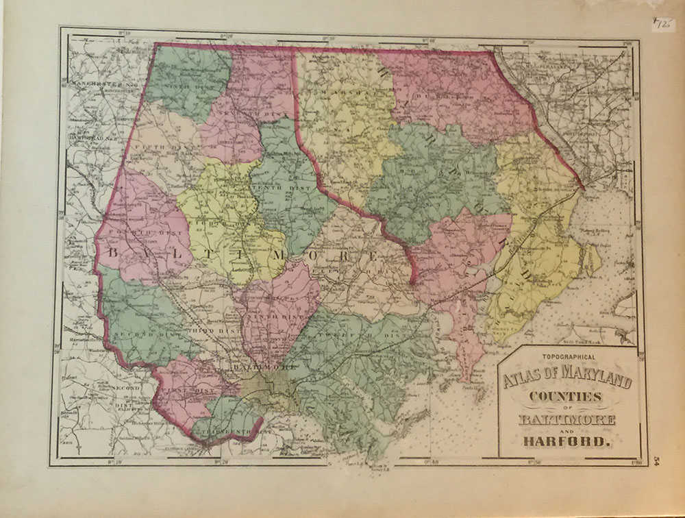 1873 Hand Colored Lithograph Baltimore & Hartford Counties