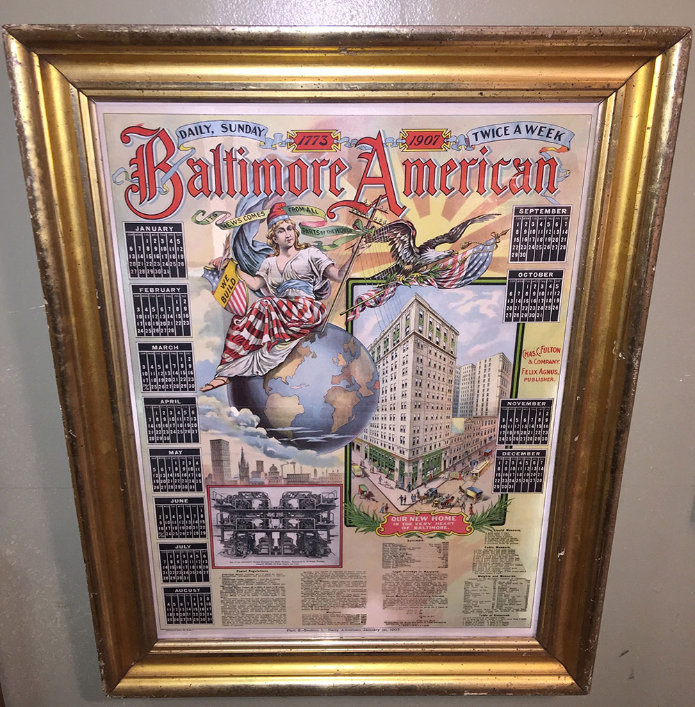 """Baltimore American Newspaper"" Lithograph C.1907"
