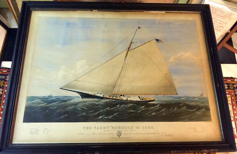 """The Yacht Rebecca"" Currier & Ives Lithograph C.1861"