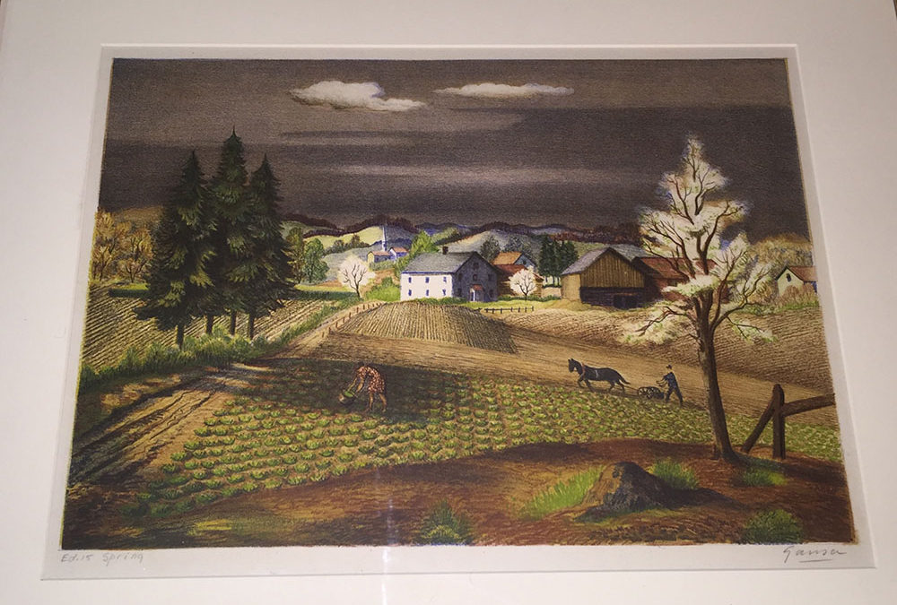 """""""Spring"""" Emil Ganso Color Lithograph C. 1930"""