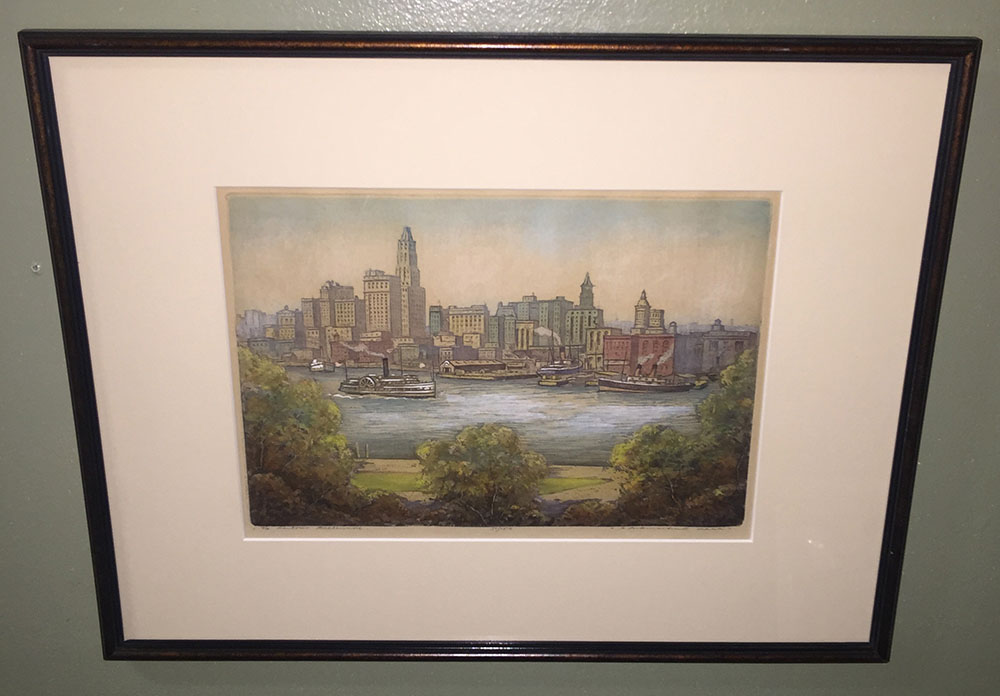 """Baltimore Harbor"" R. Herdman Smith Etching C.1940"