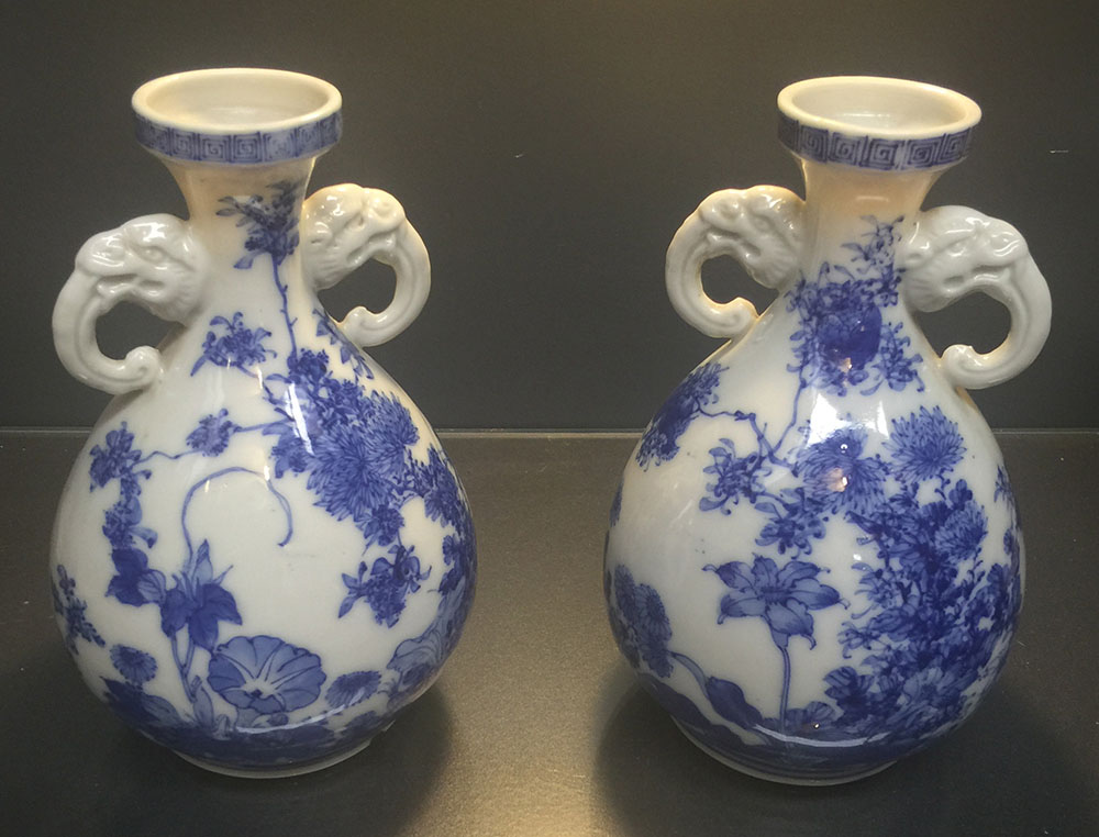 Fine Pair Japanese Hirado Vases. Late 18th/Early 19th C.