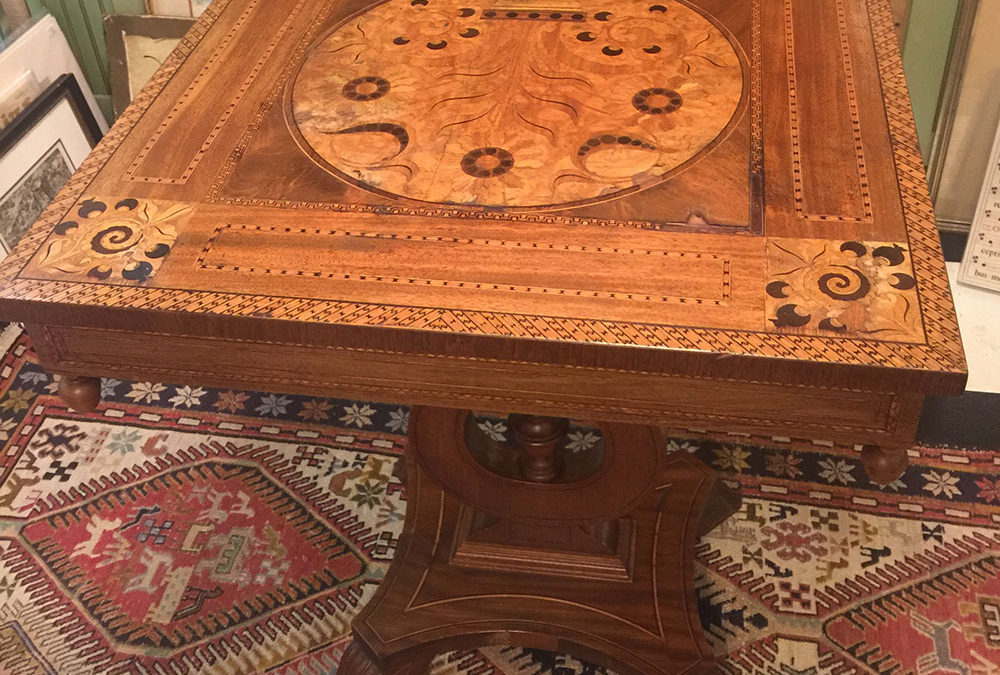 Antique Marquetry Renaissance Revival Table