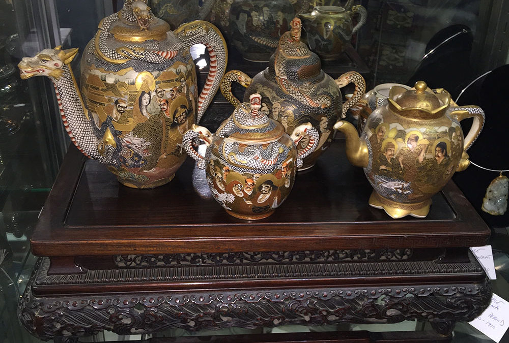 Japanese Meiji Gilt Painted Dragon Tea Set C.1870