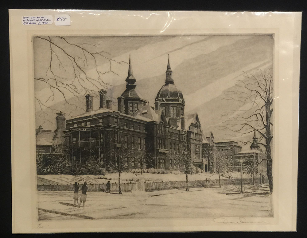 """Johns Hopkins Hospital"" Etching"