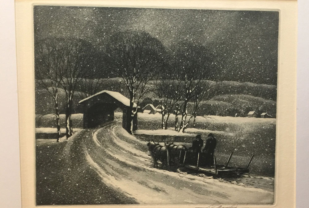 """Homeward"" Samuel Margolies, Etching 1948"