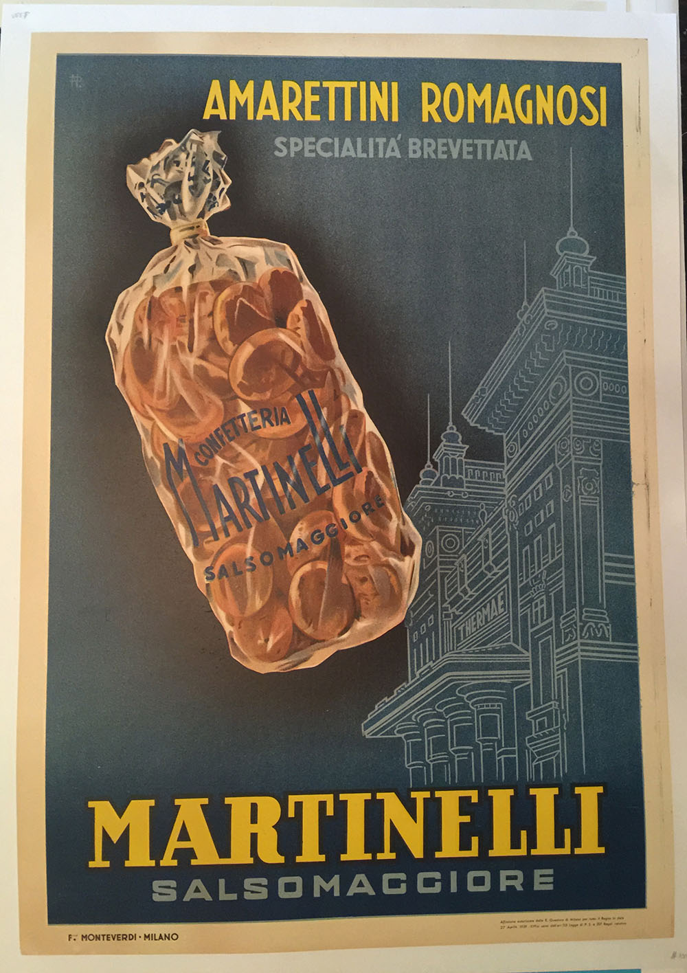 "1930s Italian Ad Poster for ""Martinelli"" Cookies"