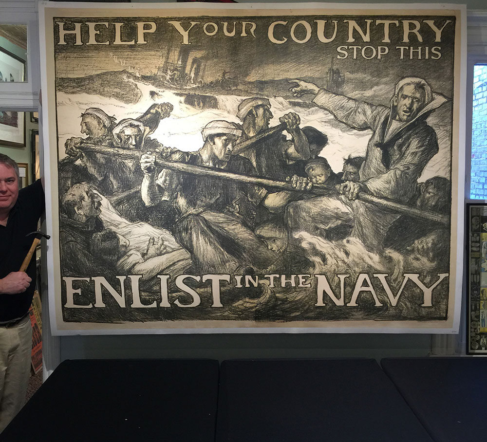 Original 1917 WWI Navy Recruitment Poster