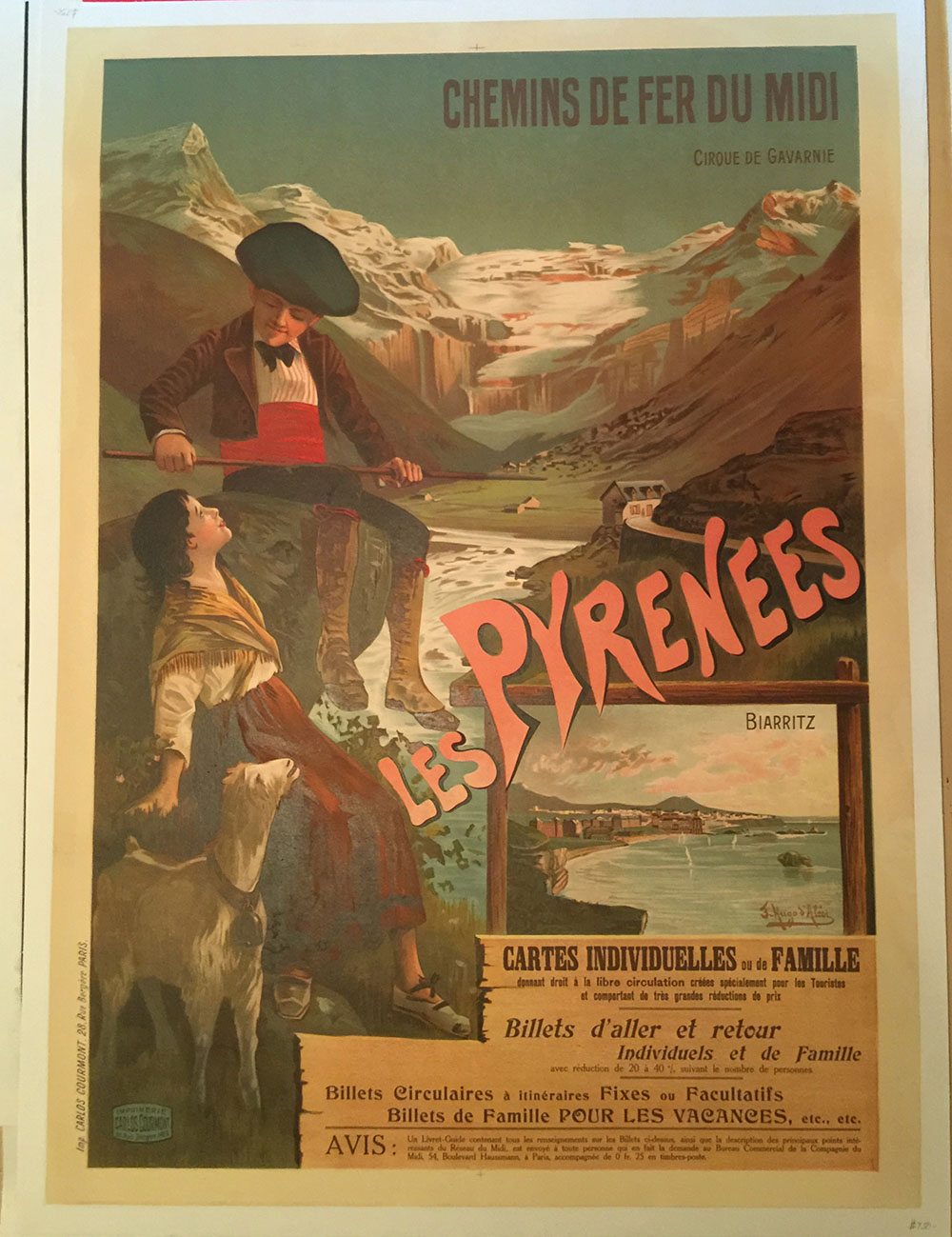 """Les Pyrenees"" French Railways Travel Poster C. 1910"