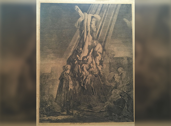 """The Decent from the Cross"" Rembrandt Etching"