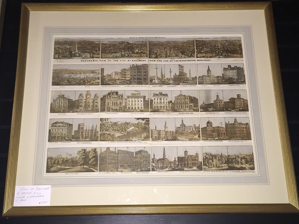 """Panorama View of Baltimore"" Lithograph C. 1865"
