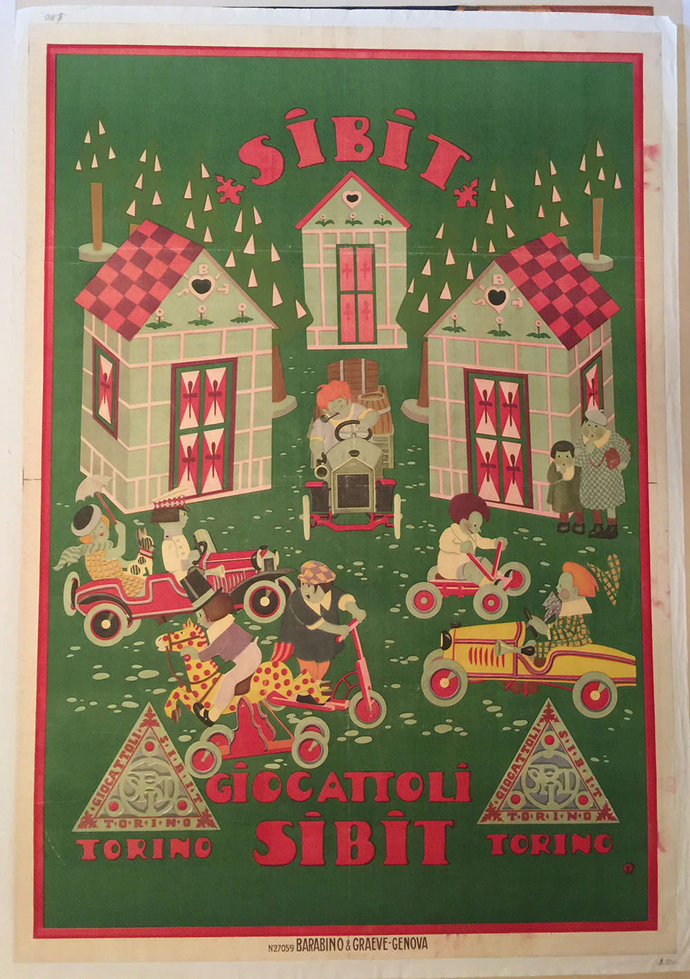 """Italian Ad Poster for Sibit Peddle Car Co. C. 1925"